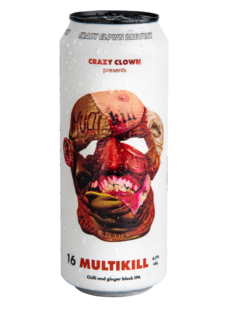 Crazy Clown Multikill Chilli and ginger black IPA 16 filtered